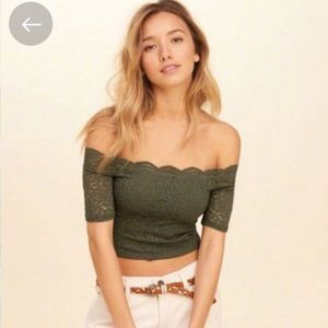Hollister Army Green Lace Off Shoulder Crop Top S